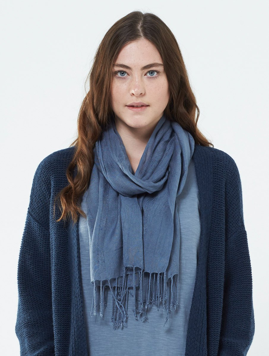 Plain Tassle Scarf - Grey