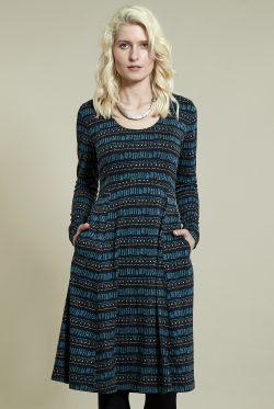 Pacific Blue Long Sleeved Dress
