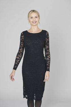 Elegant Dress Plain Embroidered Lace - Black