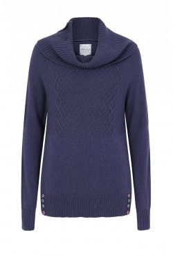 On the Button Cable Jumper - Blue Indigo