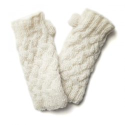 Plain Knit Hand Warmers - Cream