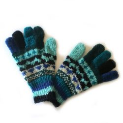 Single Knit Gloves - Blue