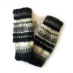 Knitted Stripe Hand Warmers - Grey