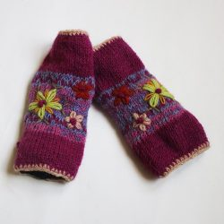 Knitted Bloom Handwarmers - Pink