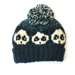 Knitted Panda Hat - Teal